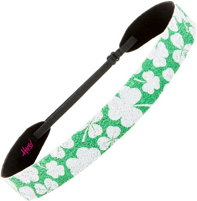 Hipsy Adjustable NO SLIP Sparkly Glitter Shamrock on Green Wide Non-Slip Headband