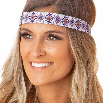 Hipsy Adjustable NO SLIP Sparkly Glitter Aztec Pink & Blue Wide Non-Slip Headband