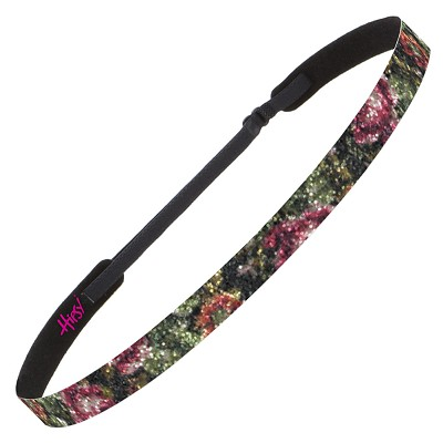 Hipsy Adjustable NO SLIP Shimmer Glitter Antique Rose Black & Pink Skinny Non-Slip Headband