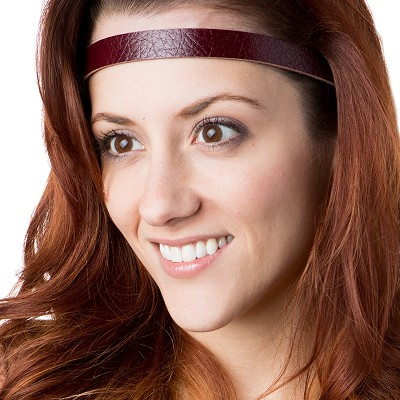 Hipsy Adjustable NO SLIP Genuine Leather Oxblood Skinny Non-Slip Headband