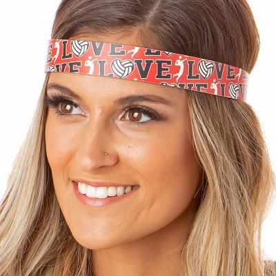 Hipsy Adjustable NO SLIP I Love Volleyball Red Wide Non-Slip Headband
