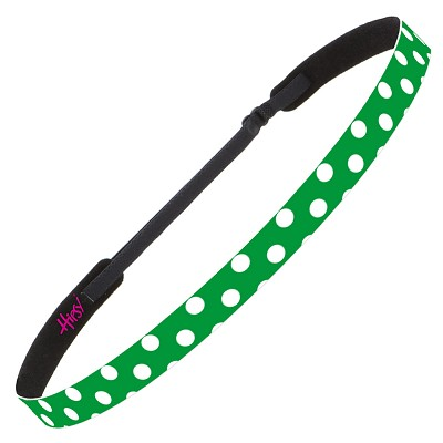 Hipsy Adjustable NO SLIP Polka Dot Green & White Skinny Non-Slip Headband