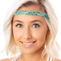Hipsy Adjustable NO SLIP Bling Glitter Seafoam Braided Non-Slip Headband