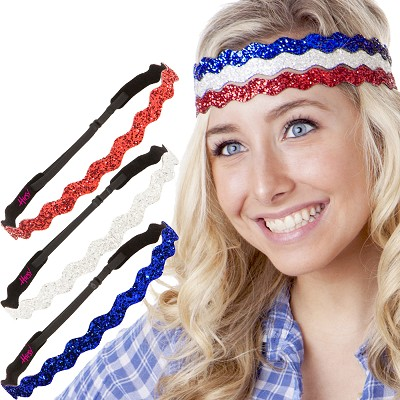 Hipsy Irish Green Hairbands Fourth of July Accessories Headband Gift Packs (Wave Royal/White/Red 3pk)