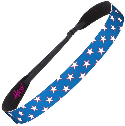 Hipsy Adjustable NO SLIP American Flag White & Red Stars on Blue Wide Non-Slip Headband
