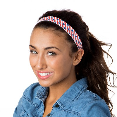 Hipsy Adjustable NO SLIP American Flag Blue Stars on Red Stripes Wide Non-Slip Headband