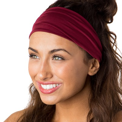 Hipsy Unisex Adjustable Spandex Xflex Basic Burgundy Headband